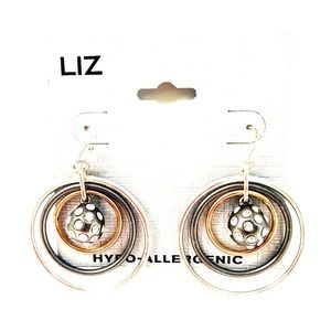 Liz Claiborne Tri-Color Crystal Hoop Earrings